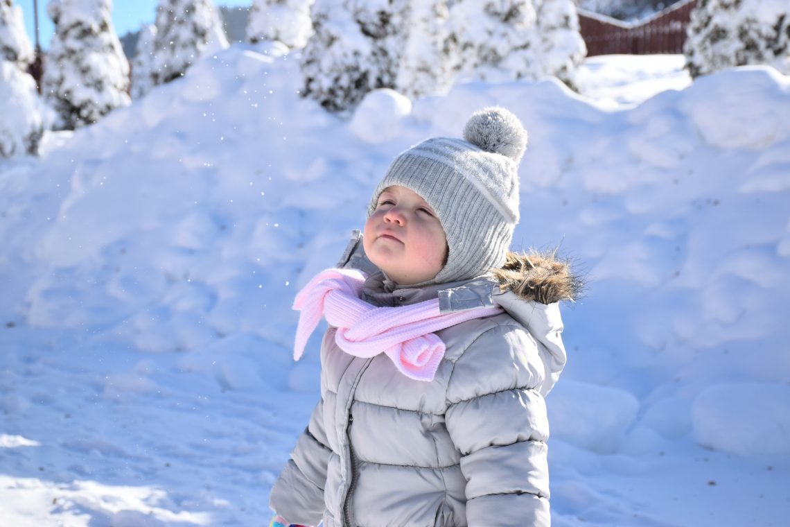 zimowa kurtka dla dziecka, mała dziewczynka