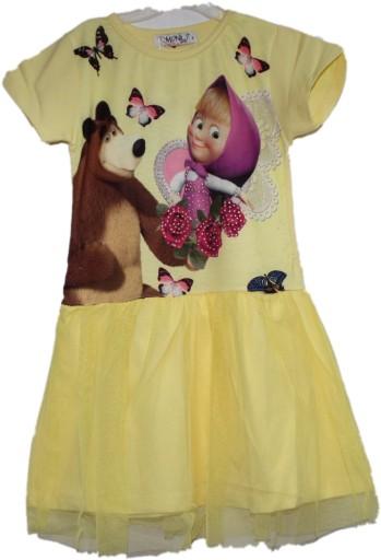 Sukienka z bohaterami bajki Masha i Niedżwiedż